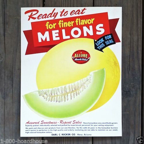 ALLURE MELONS Store Cardboard Sign 1950s