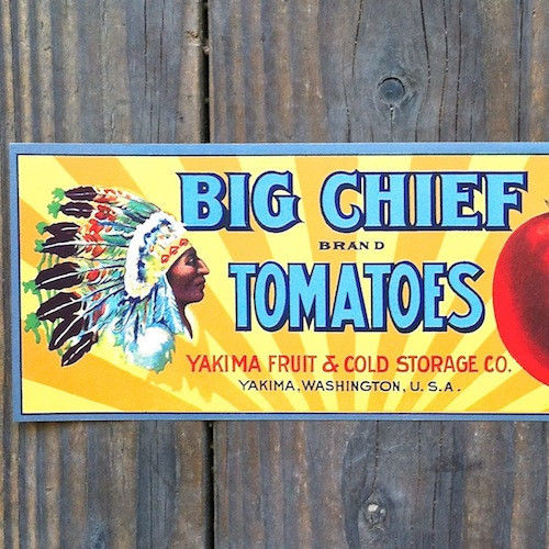BIG CHIEF TOMATOES Can Label 1920s