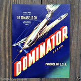 DOMINATOR VEGETABLE Bomber Plane Crate Can Label 1940s