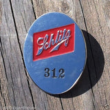 SCHLITZ BREWING COMPANY EMPLOYEE BADGE Metal Pinback Pin 1950s