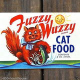 FUZZY WUZZY CAT FOOD Can Label 1950s