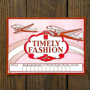 TIMELY FASHION Airplane Hat Apparel Label 1940s