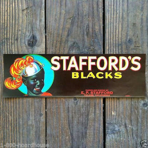 STAFFORD'S BLACKS Grape Fruit Crate Box Label 1940s