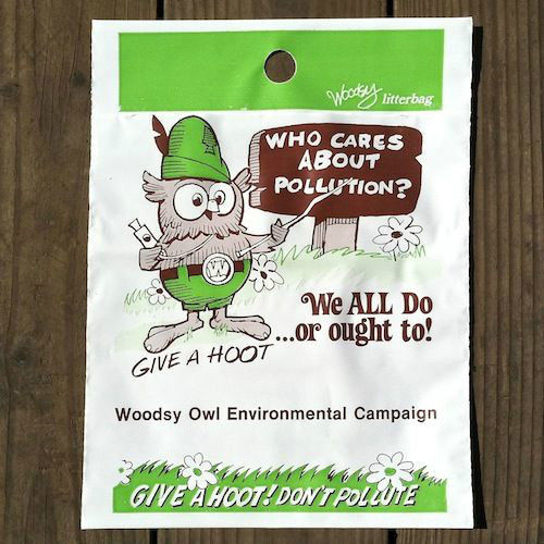 WOODSY OWL Don't Pollute Plastic Litter Bag 1970s
