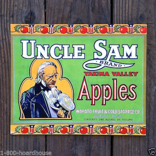 UNCLE SAM APPLES Citrus Crate Box Label GREEN 1910s