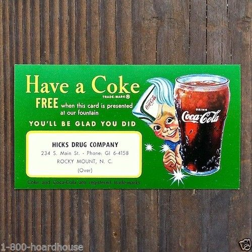 HAVE A COKE Sprite Boy Coca-Cola Drink Card 1950s