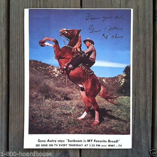 GENE AUTRY SUNBEAM BREAD Promotional TV Print 1950s
