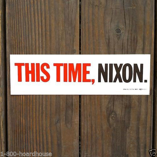 THIS TIME, NIXON Car Campaign Bumper Sticker 1960s