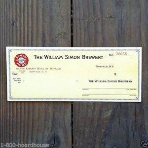 WILLIAMS SIMON BREWERY Payroll Business Check 1940