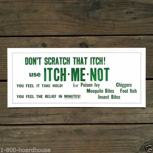 ITCH ME NOT Store Display Poster 1930s