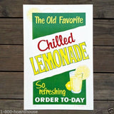 CHILLED LEMONADE Diner Cardboard Sign 1950s