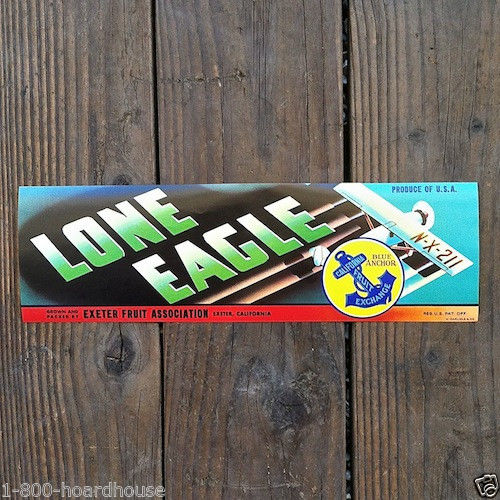 LONE EAGLE Citrus Fruit Crate Box Labels 1930s