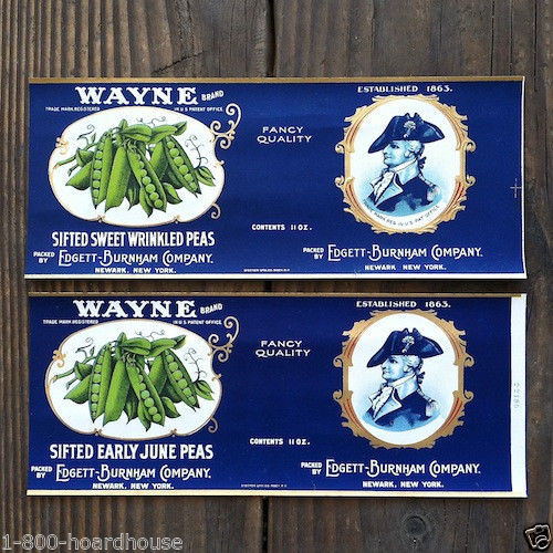 GENERAL WAYNE Vegetable Can Labels 1910s