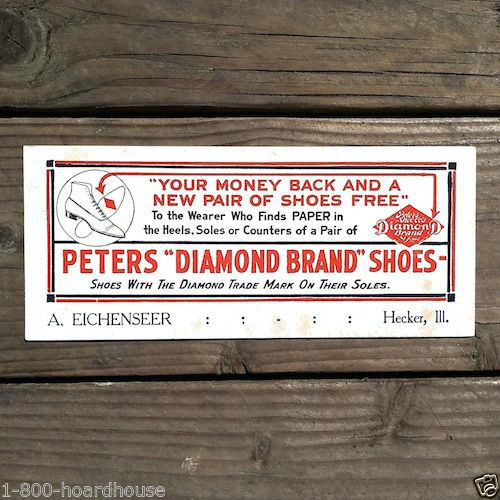 PETERS DIAMOND BRAND SHOES Ink Blotter 1910s