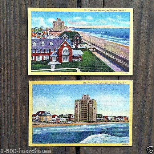 ATLANTIC CITY & VENTNOR PIER Linen Postcards 1930s