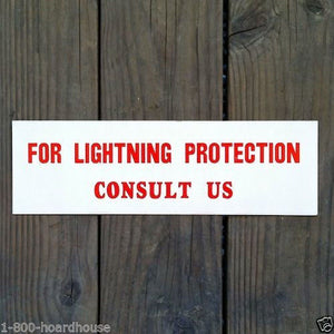 LIGHTNING PROTECTION Cardboard Sign 1930s