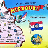 MISSOURI STATE MAP Postcard 1970s