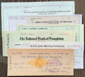 MINING COMPANY Business Checks 1900-40s