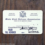 CIVIL DEFENSE HOME-FRONT Membership Card 1950s