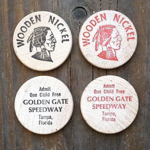 GOLDEN GATE SPEEDWAY Wooden Nickels 1970s