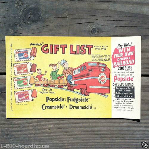 POPSICLE RxR SWEEPSTAKES Gift Booklets 1959