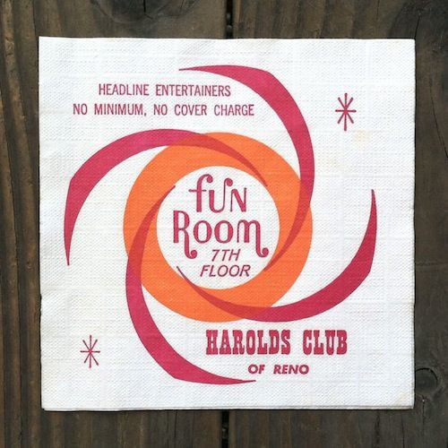 HAROLD'S CLUB FUN ROOM Paper Casino Napkins 1960s