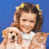 LITTLE GIRL DOG and CAT Grocery Store Promo Calendar 1942