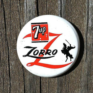 Walt Disney ZORRO 7up Pinback Pin 1959
