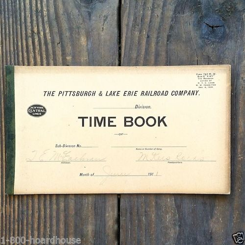 PITTSBURGH RAILROAD Time Employee Record Book 1900s
