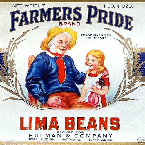 FARMERS PRIDE LIMA BEANS Vegetable Can Label 1930s