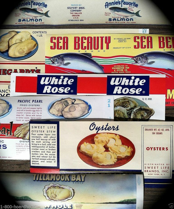 OYSTERS SALMON FISH Can Label Collection 1930s