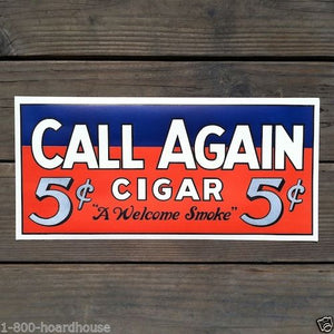 CALL AGAIN FIVE CENT CIGAR Store Poster 1920s