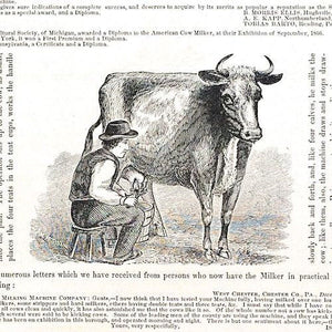 AMERICAN COW MILKER Instructional Phamplet 1867