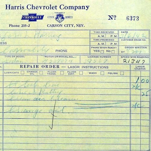 HARRIS CHEVROLET CO Work Orders 1940s
