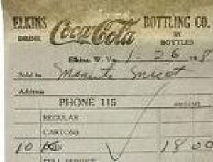 COCA COLA Elkins Bottling Plant Coke Receipts 1940s-50s