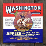 WASHINGTON DEHYDRATED APPLES Fruit Crate Box Label 1920s