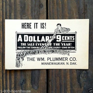A DOLLAR FOR 9 CENTS Display Coupon Card 1920s