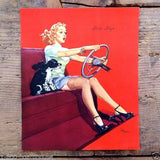 STOP SIGN Sexy Pinup Lithograph Art Print 1940s