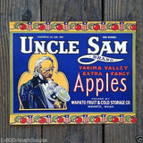 UNCLE SAM APPLES Crate Box Citrus Label BLUE 1910s