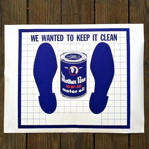 MOTHER PENN OIL Paper Floor Mats 1950s