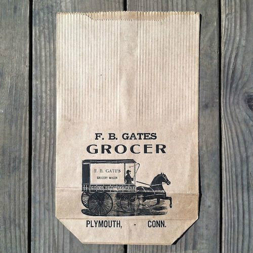 F.B. GATES GROCER Paper Shopping Bag 1900s
