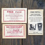 COCA COLA Paper Coke Coupons 1960s