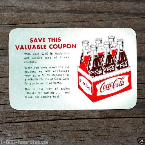 COCA COLA Free Coke Coupon Card 1960s
