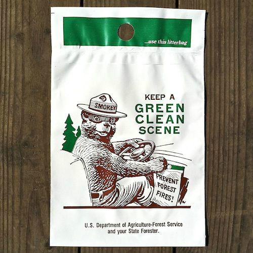 SMOKEY THE BEAR Green Scene Litter Bag 1960s
