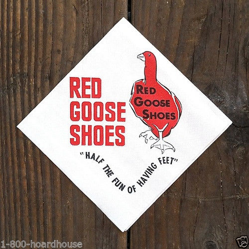 RED GOOSE SHOES Paper Napkins 1950s