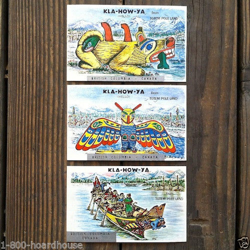 TOTEM POLE LAND Linen Postcard Collection 1950s