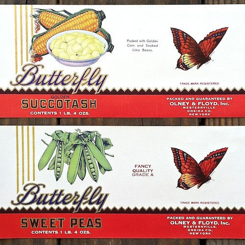 BUTTERFLY Vegetable Can Labels 1920s