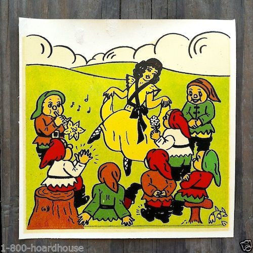 SNOW WHITE SEVEN DWARFS Disney Decals 1940s