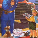 HAPPY BIRTHDAY TEACHER Policeman Promotional Calendar 1950s