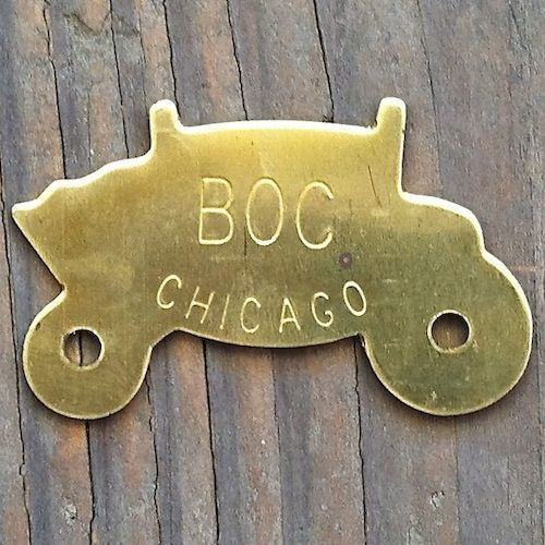 FISHER BODY BRASS BOC Chicago Nameplate 1970s